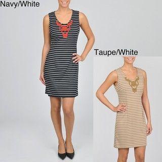 Sharagano Womens Sleeveless Striped Ponte Dress