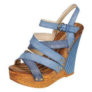 DEEP 02 Women High Heels Platform Wedge Sandals   Blue, Size 10 Shoes