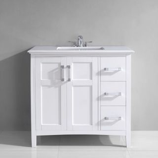 Salem 36 inch White Marble Top Single Sink Bathroom Vanity