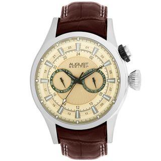August Steiner Mens Steel Swiss Quartz Day/ Date GMT Watch