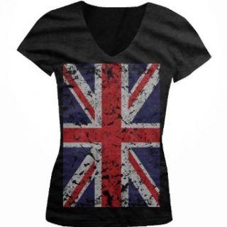 Big Great Britain Flag Juniors V Neck T shirt, Faded
