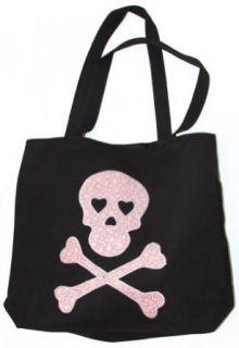 Clover Pink Skull Tote Bag, Black Clothing