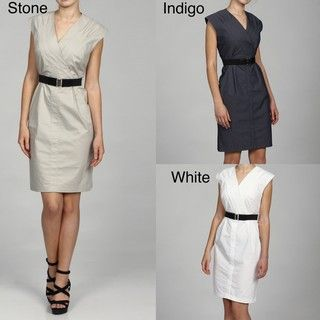 Emma & Michele Womens Sleeveless Belted Faux Wrap Dress