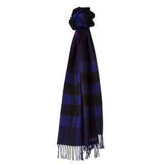Burberry 3826720 Marine Blue/ Black Check Cashmere Scarf