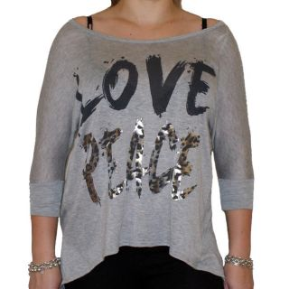 Oatt Womens Love and Peace Graphic Print Top