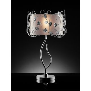 Floral 34 inch Silver Crystal Table Lamp