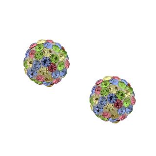 14k Gold Multicolor 7mm Crystal Ball Earrings