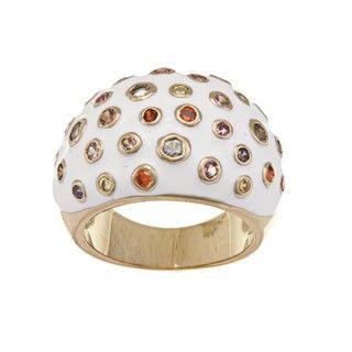 Nexte Brass White Enamel Multi color Cubic Zirconia Ring