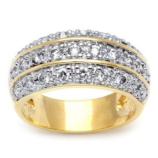 Ultimate CZ 14k Two tone Gold Overlay Cubic Zirconia Ring