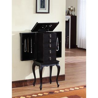 Ningbo Chinese Black MDF 4 drawer Jewelry Armoire with Mirrored Top