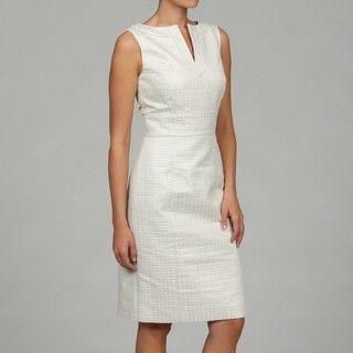 Tahari Womens Ivory/ Silver Jacquard Dress