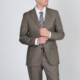 Tasso Elba Mens Khaki Nailhead Wool/Cashmere Blend Suit