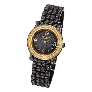 Stuhrling Original Womens Grace Quartz Crystal Ceramic Bracelet Watch