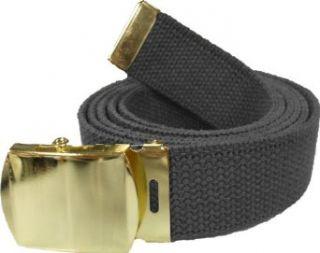 100% Cotton Military 54 Web Belt (Black w/Gold Buckle