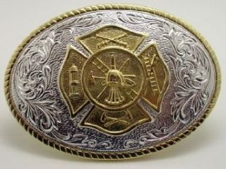 FIREMAN SILVER/GOLD PLATED BELT BUCKLE Clothing