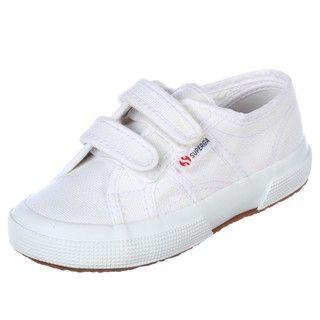 Superga Childrens 2750 JV Classic White Velcro Strap Shoes