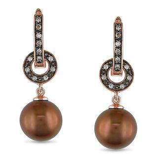 Miadora 10k Rose gold Pearl and 1/8ct TDW Diamond Earrings (H I, I1 I2