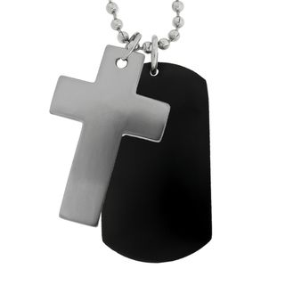 Mens Stainless Steel 2 piece Cross Dog Tag Necklace