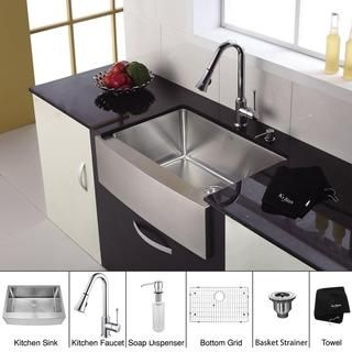 Kraus 33 inch Farmhouse Single Bowl Stainless Steel Kitchen Sink with