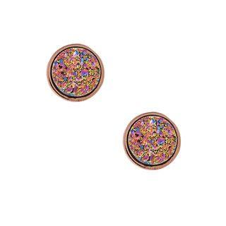 Caribe Gold Rosetone Rose Druzy Stud Earrings