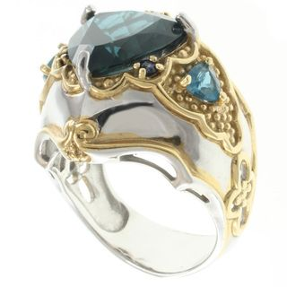 Michael Valitutti Two tone London Blue Topaz Ring