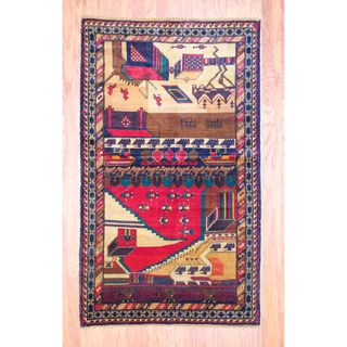 Afghan Hand knotted Tribal Balouchi Red/ Green Wool Rug (311 x 67