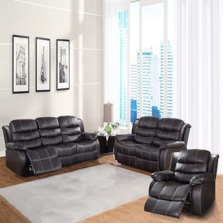 Buxton Collection Brown Bonded Leather 3 piece Living Room Set