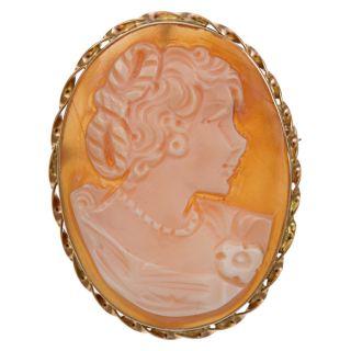 14k Gold Tortiglione Profile Shell Cameo 39 mm Oval Pendant Brooch