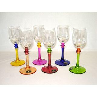 Threestar Multicolor Hand painted Italian Wine Shot Glasses (Set of 6