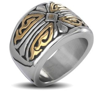Stainless Steel Mens Two tone Royal Cross Ring