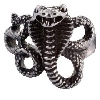 Stainless Steel Mens Snake Ring