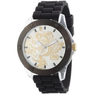 Marc Ecko Mens Silver Dial Black Strap Watch