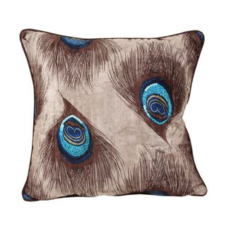 Peacock Feather 18 inch Square Throw Pillow