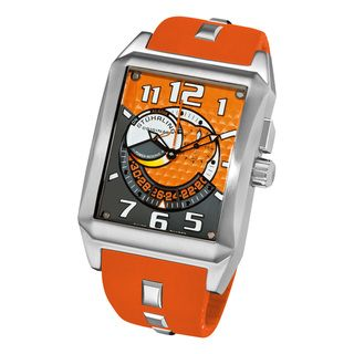 Stuhrling Original Mens Mad Man Complex Orange Rubber Strap Swiss