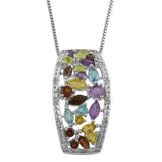 Sterling Silver Multi gemstone with Diamond Pendant