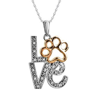 ASPCA Tender Voices Silver Diamond Accent Love Paw Necklace