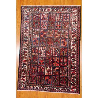 Persian Hand Knotted Bakhtiari Ivory and Red Wool Rug (72 x 102