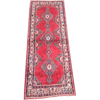 Persian Hand knotted Hamadan Red/ Ivory Wool Rug (38 x 102