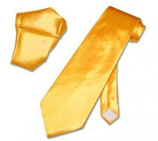 Solid Bright YELLOW GOLD Color NeckTie Handkerchief Set
