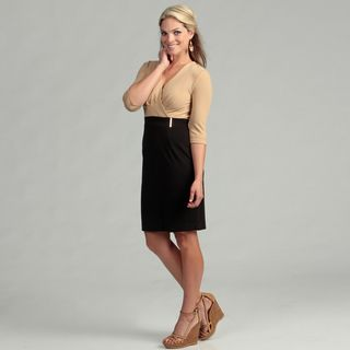 Calvin Klein Womens Camel/ Black Empire Dress
