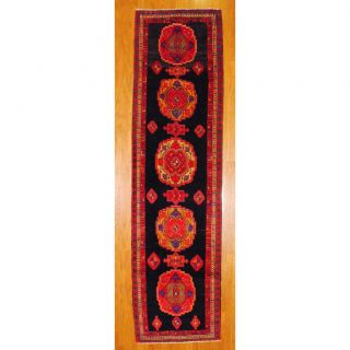 Persian Hand knotted Hamadan Navy/ Red Wool Rug (38 x 134) Was $499