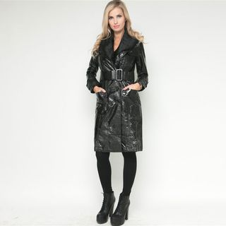 Stanzino Womens Black Belted Faux Fur Trim Long Coat