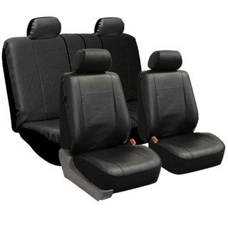 FH Group Black PU Leather Universal Full Set Solid Bench Seat Covers