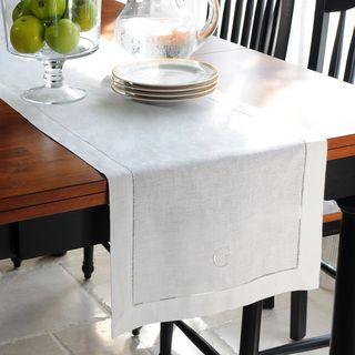 Monogrammed Cream Linen Hemstitch Table Runner