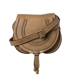Chloé Marcie Mini Taupe Leather Round Cross body Bag