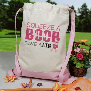 Squeeze a Boob   Breast Cancer Awareness Backpack Sports