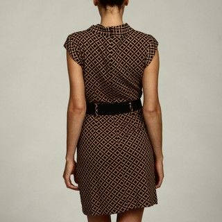 Sandra Darren Womens Camel/ Black Belted Dress