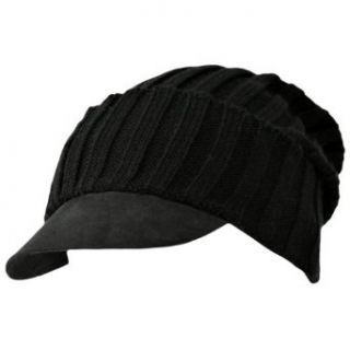 Solid Black Acrylic Knit Slouch Beanie Cap Clothing