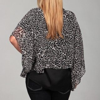 Jessica Simpson Womens Plus Size Sheer Print Open Front Poncho