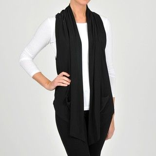 Lennie for Nina Leonard Womens Black Jersey Knit Fashion Vest